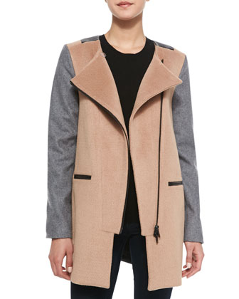 Erica Faux-Leather Trimmed Combo Wool Coat, Camel