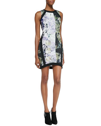 Mixed Floral Print Sheath Dress, Purple