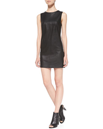 Tarala Seamed Leather Dress, Black