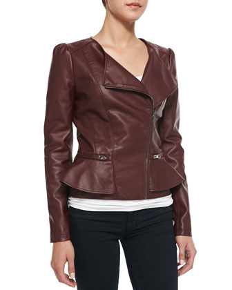 Peplum Asymmetric-Zip Faux-Leather Jacket, Wine