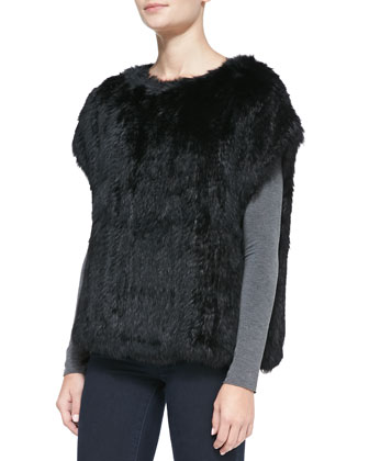 Cap-Sleeve Fur Sweatshirt, Black