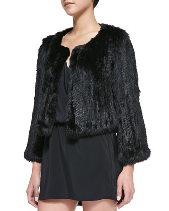 Spider-Brooch Embellished Fur Crop Jacket, Black