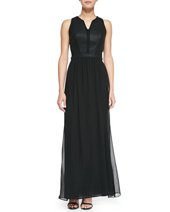 Mix Fab Faux-Leather Inset Chiffon Maxi Dress, Black