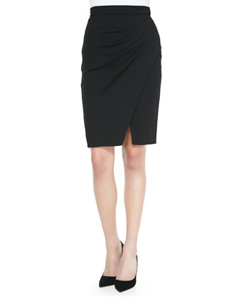 Pleated-Side Tulip Hem Skirt