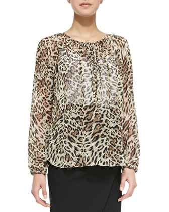 Long-Sleeve Leopard Poet Blouse