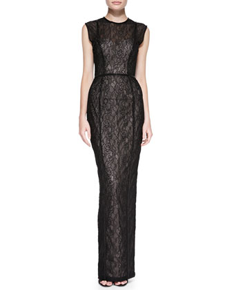 Sleeveless Seamed Lace Column Gown