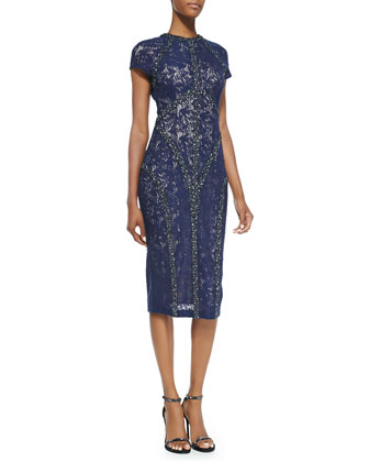 Short-Sleeve Beaded-Seam Lace Cocktail Dress