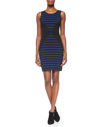 Abbie Striped Jersey Sheath Dress, Marine