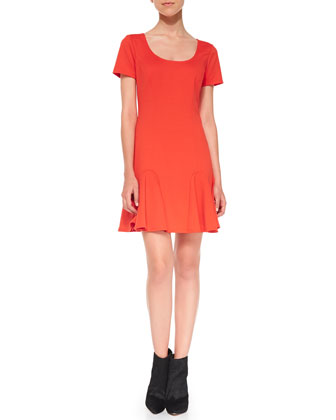 Faith Ponte Flounce Dress, Poppy