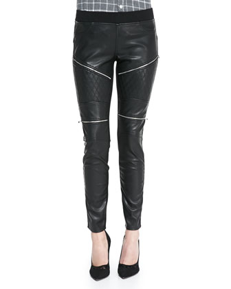 Quilted Zip Trim Faux-Leather Moto Leggings, Black