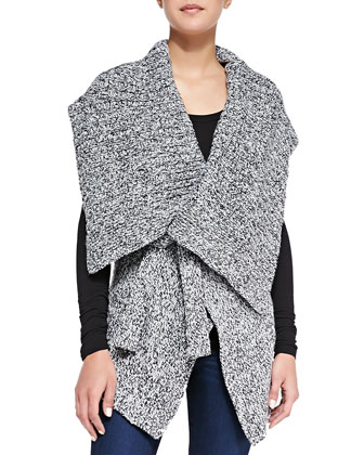 Wraparound Cable-Knit Sweater Vest, Dark Gray