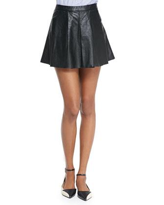 Pleated Vegan Leather Circle Skirt, Black