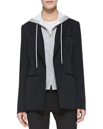 Hoodie Dickey Scuba Jacket, Silk Jacquard Long-Sleeve Tee & Jersey Seamed ...