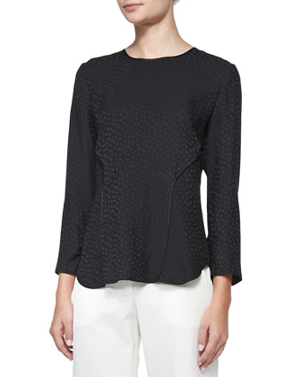 Silk Dotted Jacquard Long-Sleeve Tee, Black