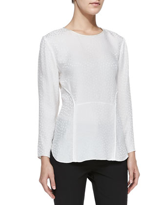 Silk Jacquard Long-Sleeve Tee, White