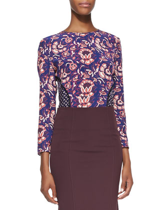 Long-Sleeve Seamed Combo-Print Blouse