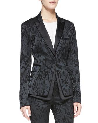Jacquard Peplum Tuxedo Jacket, Silk Jacquard Long-Sleeve Tee & Jacquard ...