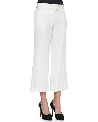 Crepe Cropped Wide-Leg Trousers