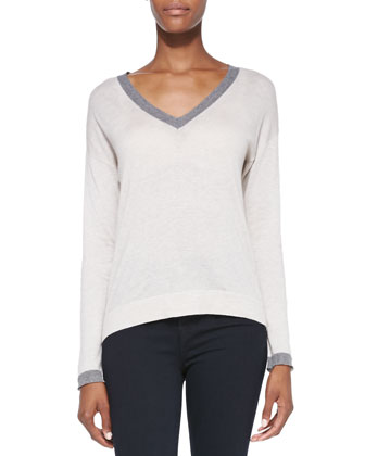 Anett Contrast-Neck Knit Sweater