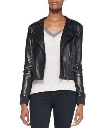 Devon Knit-Trim Leather Jacket, Anett Contrast-Neck Knit Sweater & Maria ...