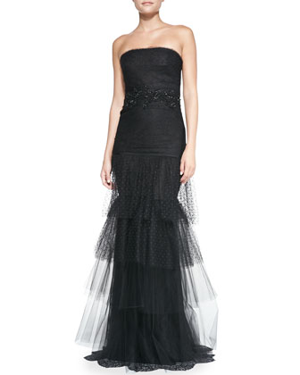 Strapless Beaded-Waist Tulle-Skirt Gown