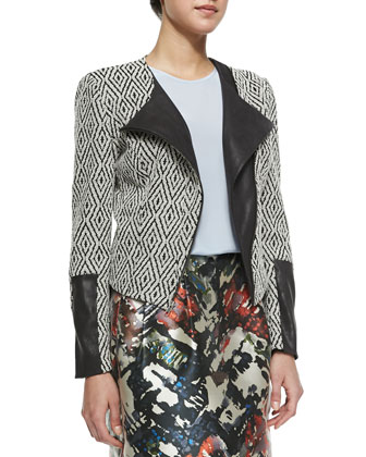 Adrienne Zip-Front Jacket with Faux-Leather Detail