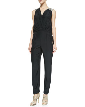Talia Satin Sleeveless Jumpsuit
