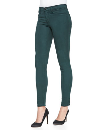 Maria High-Rise Sateen Skinny Jeans, Forest
