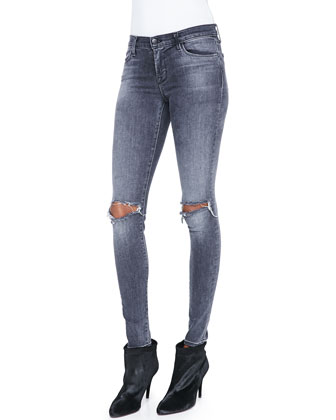 Montana Raw-Edge Contrast Top & Mid-Rise Distressed Skinny Jeans