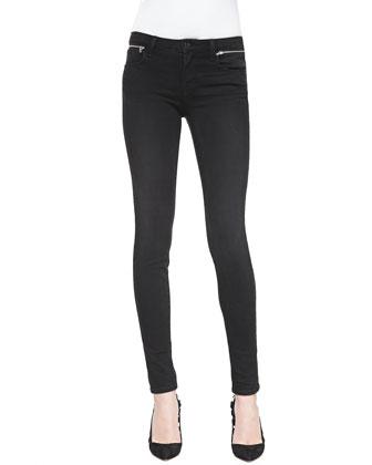 Leah Skinny Zip-Waist Jeans, Graphite