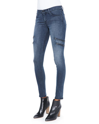 J Brand Ready to Wear Piper Contrast-Trim Cotton Blouse & Dee Zipper-Leg ...