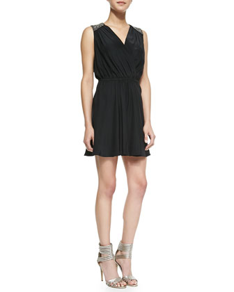 Dulce Beaded-Shoulder Silk Dress