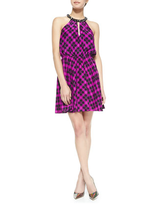 Serena Jewel-Neck Plaid Dress