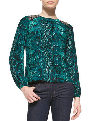 Eileen Beaded-Shoulder Silk Top