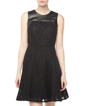 Faux-Leather And Lace Panel Dress, Black