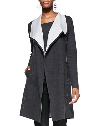 Cascading Long Luxe Double-Knit Cardigan, Women's