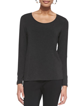 Long-Sleeve Slim Jersey Top, Charcoal, Women's