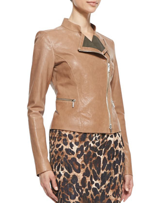 Cropped Lamb Leather Moto Jacket, Camel