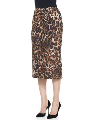 Cropped Lambskin Moto Jacket & Priscilla Leopard-Print Skirt