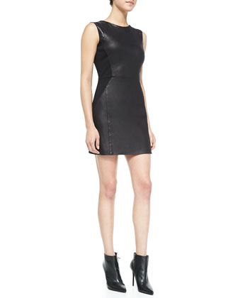 Leo Sleeveless Faux-Leather Dress