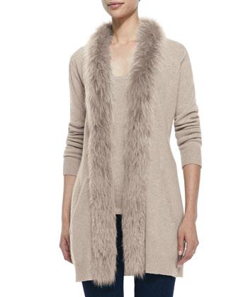 Fur-Trimmed Cashmere Cardigan