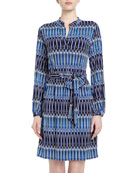 Elongated Oval-Print Sheath Dress, Blue Beret