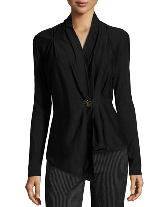 Schecko Wool-Silk Embellished Cardigan, Black
