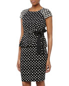 Polka-Dot Cap-Sleeve Peplum Dress, Black/Ivory