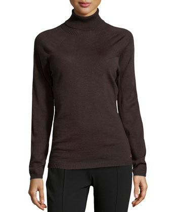 Sapia Lightweight Wool Turtleneck Sweater, Dark Brown