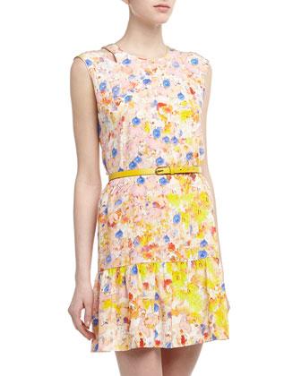 Cutout Shoulder Floral Print Flounce Dress