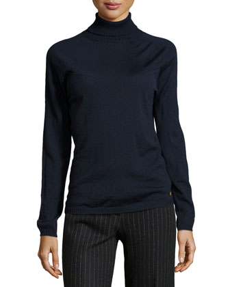 Sapia Lightweight Wool Turtleneck Sweater, Navy
