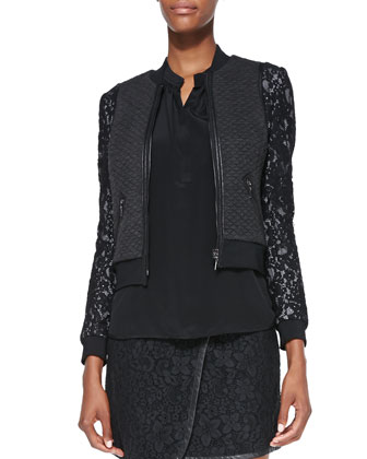 Textured/Lace Bomber Jacket