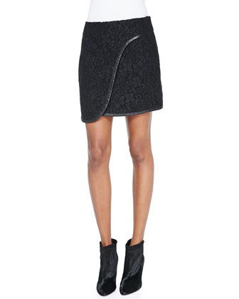 Leather-Trim Lace Faux-Wrap Skirt