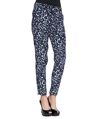 Lynx-Print Side-Stripe Slim Pants